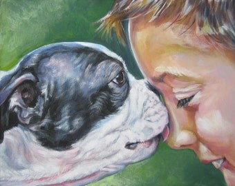 Boston Terrier dog art CANVAS print of LA Shepard painting 8x10