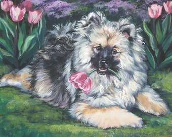Keeshond art CANVAS print of LA Shepard painting 8x10 dog art