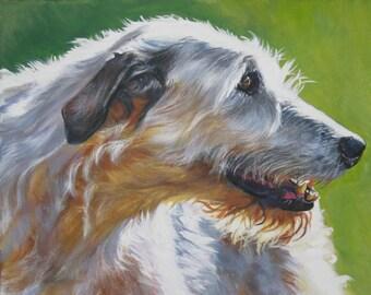 Irish Wolfhound dog art portrait canvas print of LA Shepard painting 11x14