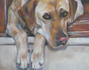 "Labrador Retriever dog art portrait canvas PRINT of LAShepard painting 11x14"" Yellow LAB"