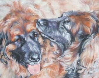 """LEONBERGER dog portrait art canvas PRINT of LA Shepard painting 8x10"""""""