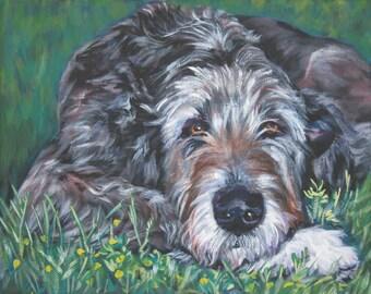 Irish Wolfhound dog art canvas print of LA Shepard painting 8x10