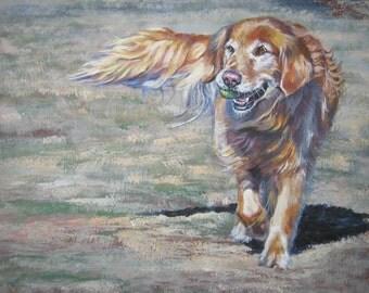 "GOLDEN Retriever dog ART canvas PRINT of LAShepard painting 8x10"""