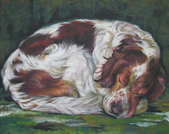 "Irish Red And White Setter Canvas print of L.A.Shepard painting 8 x 10"" dog art"