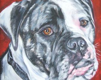 "AMERICAN BULLDOG dog art portrait canvas PRINT of LAShepard painting 12x12"""