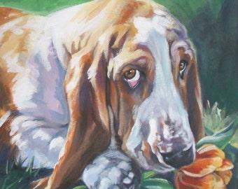 """Basset Hound DOG ART Portrait Leinwand Drucken der LAShepard Hund malen 8 x 8"""""""