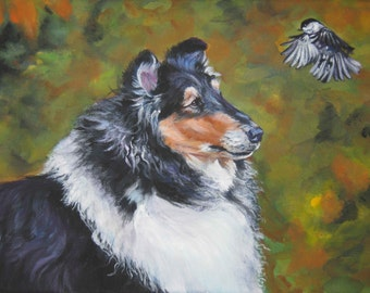 Rough Collie dog art canvas print of LA Shepard dog painting 12x16 portrait