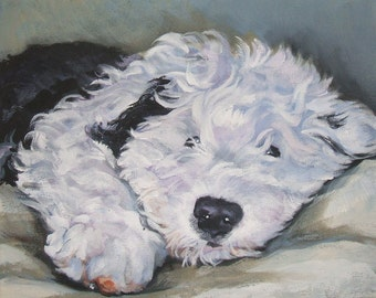 Old English Sheepdog oes dog art CANVAS print of LA Shepard painting 8x10 portrait