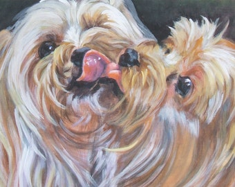 YORKSHIRE TERRIER yorkie dog art portrait canvas PRINT of LAShepard painting 12x16""