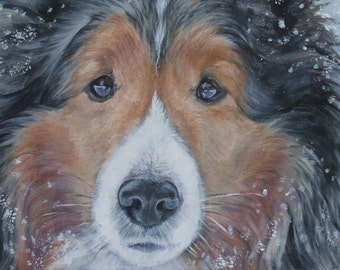 Shetland Sheepdog sheltie dog art CANVAS art print of LA Shepard painting 11x14