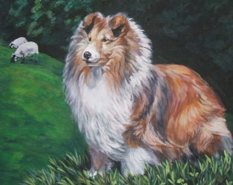 Shetland Sheepdog sheltie dog art CANVAS print of LA Shepard painting 12X16