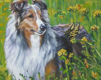 Shetland Sheepdog Sheltie dog art CANVAS print of LA Shepard painting 12x12