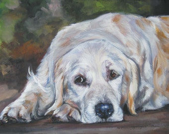 Golden Retriever dog art CANVAS print of LA Shepard painting 12x16