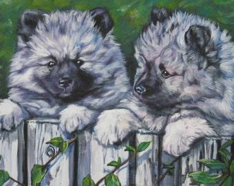 Keeshond dog art CANVAS print of LA Shepard painting 8x10