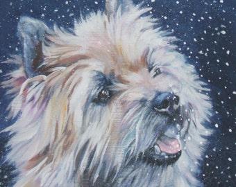 cairn terrier portrait Canvas print of LA Shepard painting 8x8 dog art
