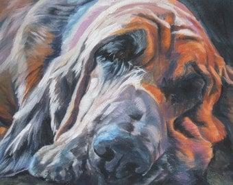 Bloodhound Dog portrait CANVAS print of LA Shepard painting 11x14 dog art