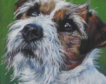 "jrt JACK RUSSELL terrier dog portrait art canvas PRINT of LAShepard painting 8x8"""