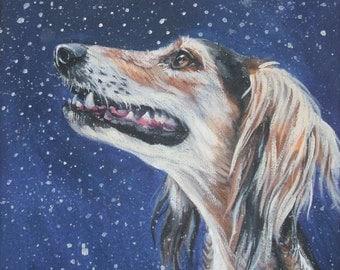 saluki dog art CANVAS print of LA Shepard painting 8x8 dog portrait