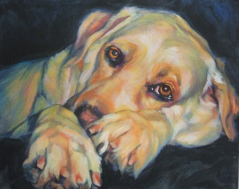 Labrador Retriever portrait CANVAS print of LA Shepard painting 11x14 yellow lab dog art