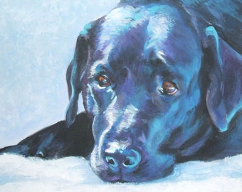 Labrador Retriever portrait CANVAS print of LA Shepard painting 11x14 black lab dog art