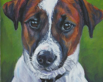 Jack Russell Terrier dog art CANVAS print of LA Shepard painting 12x12 portrait