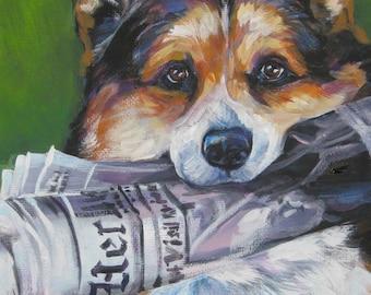 Pembroke Welsh Corgi art CANVAS print of LA Shepard painting 12x16 dog portrait