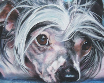 chinese crested portrait CANVAS print of LA Shepard painting 11x14 dog art