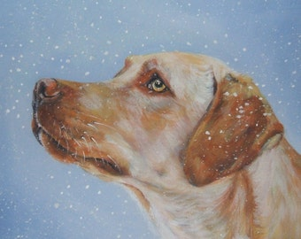 Labrador retriever CANVAS print of LA Shepard painting 8x10 yellow lab dog art