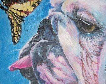 "ENGLISH BULLDOG dog art portrait canvas PRINT of LAShepard painting 11x14"""