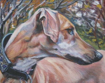 Sloughi Greyhound dog art CANVAS print of LA Shepard painting 8x10