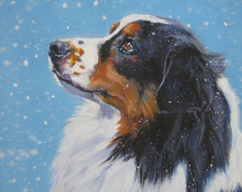Australian Shepherd aussie dog art CANVAS print of painting 8x10 dog portrait