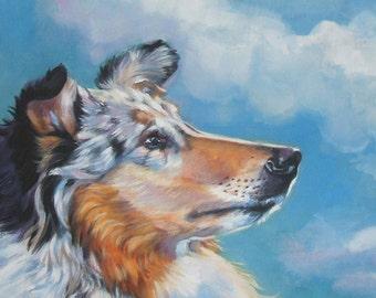Rough Collie portrait CANVAS print of LA Shepard painting 11x14 dog art