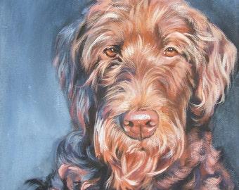 "LABRADOODLE dog art PORTRAIT canvas PRINT of LAShepard painting 8x8"""
