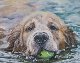 Golden Retriever CANVAS art print of LA Shepard painting 8x10 dog art