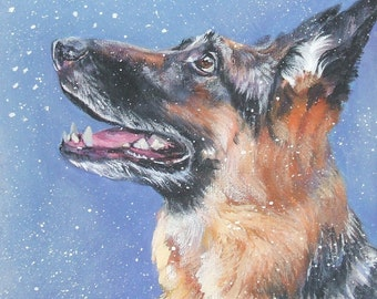 German Shepherd dog art portrait CANVAS print of LA Shepard painting 12x12