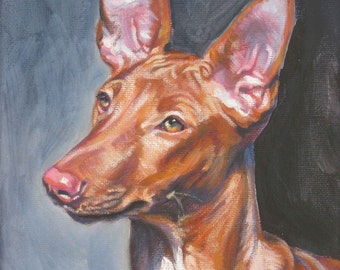PHARAOH HOUND dog portrait art canvas PRINT of LAShepard painting 12x16""