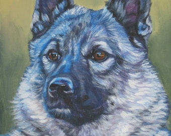 Norwegian Elkhound dog art portrait CANVAS print of LA Shepard painting 8x10