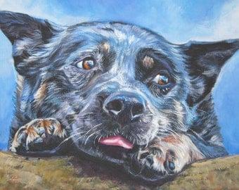 AUSTRALIAN CATTLE DOG blue heeler portrait art canvas print of LAShepard painting 12x16