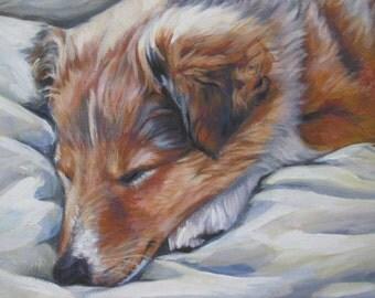Shetland Sheepdog sheltie dog art portrait CANVAS print of LA Shepard painting 12x16