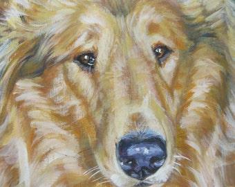 Rough Collie art CANVAS print of LA Shepard painting 12x12 dog portrait