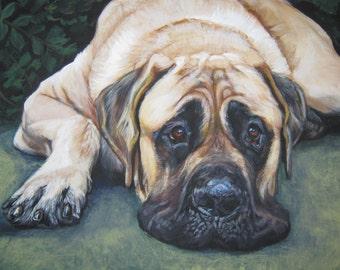"American MASTIFF dog art portriat canvas PRINT of LAShepard painting 8x10"""