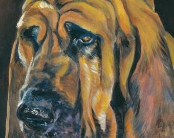 Bloodhound dog portrait CANVAS print of LA Shepard painting 8x10 dog art