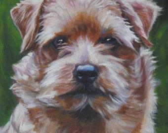 norfolk terrier art print CANVAS print of LA Shepard painting 8x8