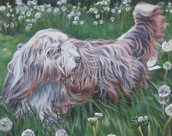 Bearded Collie dog art CANVAS print of LA Shepard painting 8x10