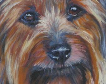 "SILKY TERRIER dog art portrait canvas PRINT of LAShepard painting 8x8"""