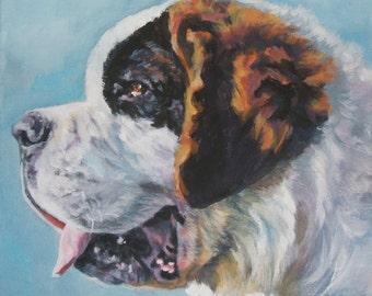 st Saint Bernard art CANVAS print of LA Shepard painting 8x10 dog portrait