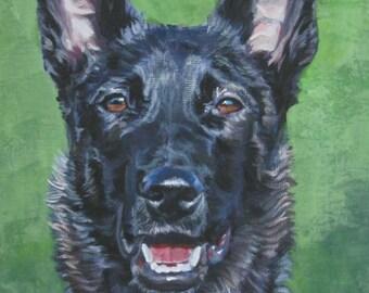 Dutch Shepherd dog art portrait CANVAS print of  LA Shepard painting 12x16