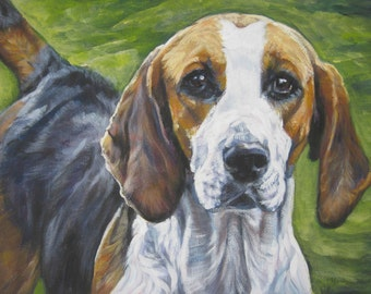 English Foxhound dog art CANVAS print of LA Shepard painting 11x14 portrait