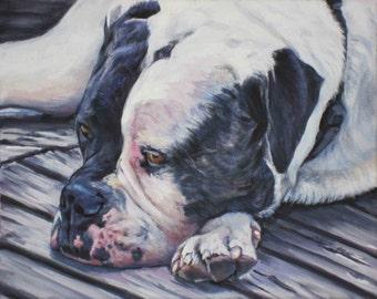 "AMERICAN BULLDOG dog art portrait canvas PRINT of LAShepard painting 8x10"""