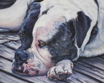 "AMERICAN BULLDOG dog art portrait canvas PRINT of LAShepard painting 12x16"""